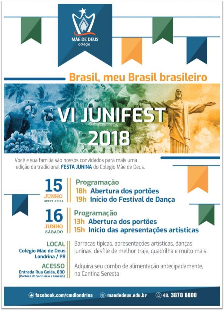 """VI Junisfest """"Meu Brasil brasileiro"""" no Colégio Mãe de Deus nos dias 15 e 16 de junho"""