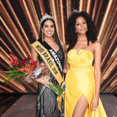 Mayra Silva, Miss Brasil 2018 e Monalysa Alcântara, Miss Brasil 2017 em premiação