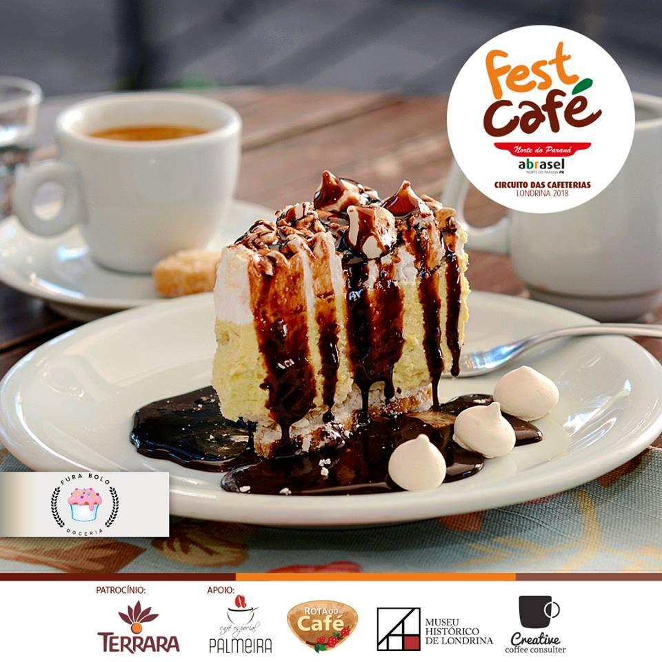 Fest Café 2018: Torta de Café com calda de chocolate da Fura Bolo Doceria em Londrina