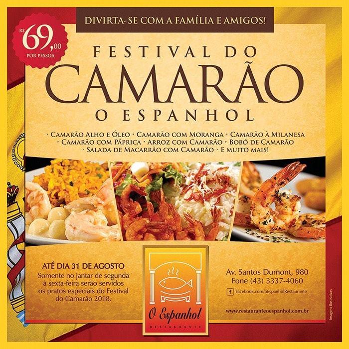 Festival do Camarão é no Restaurante O Espanhol em Londrina