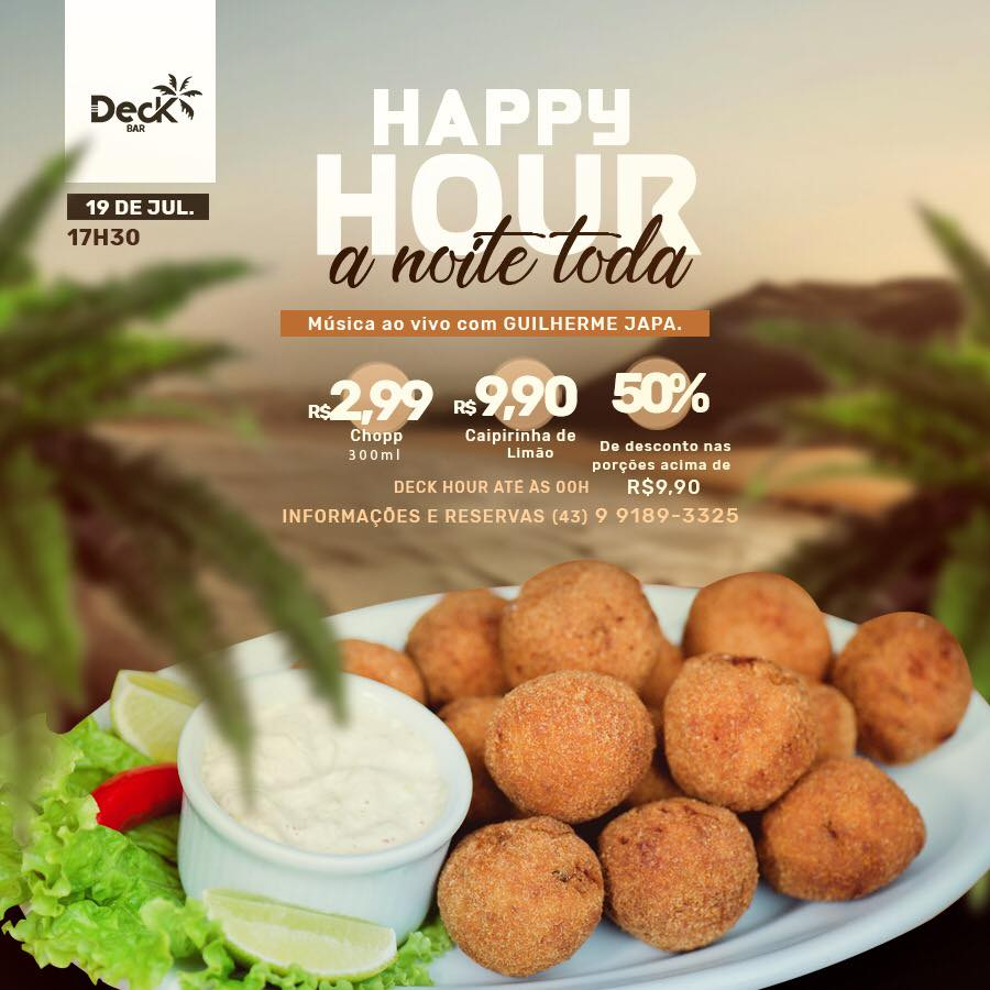 Deck Bar: Happy Hour a noite toda