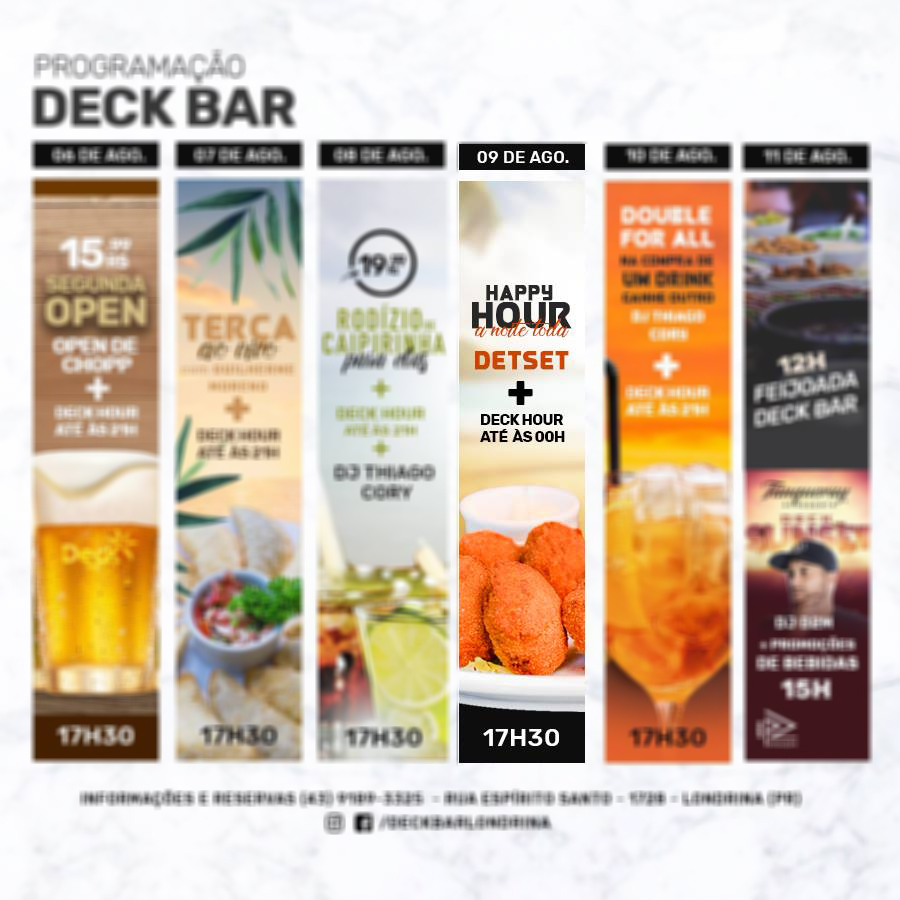 Deck bar - Happy Hour a noite toda