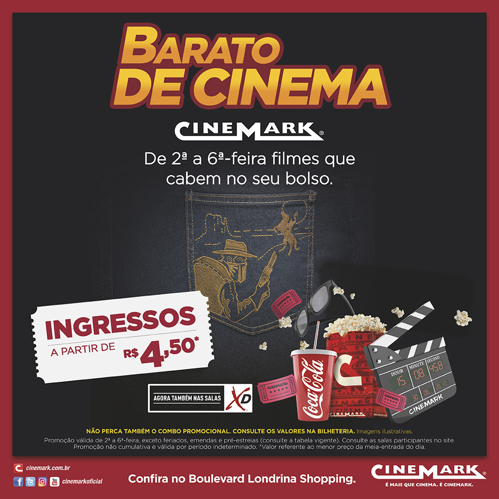 'Barato de Cinema' volta ao Cinemark do Boulevard Londrina Shopping com novidades