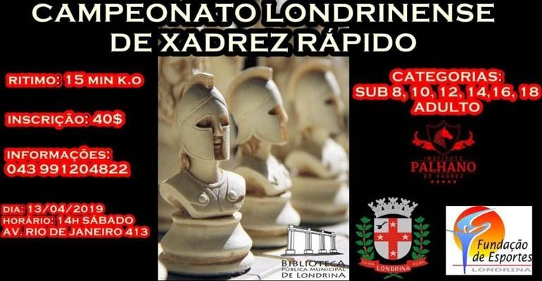 Campeonato de Xadrez Rápido acontece neste sábado